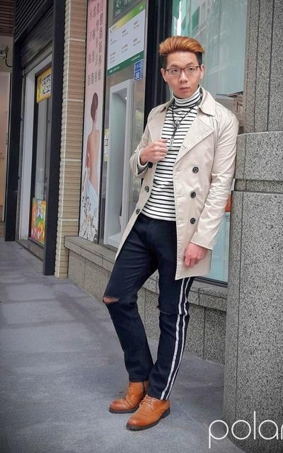 適合秋天紳士英倫風、雙排長大衣、MMO的穿搭