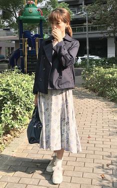 時尚穿搭:花朵印花x緹花裙