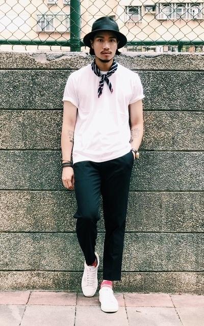適合CHAINLOOP STYLE、圈入藍、SMART CASUAL、HIPSTER CASUAL、都會男子、TEE、編織草帽、橫圖比較美~~~~、UNIQLO、CHAINLOOP的穿搭
