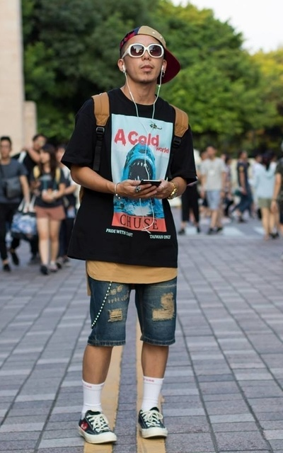 適合街頭潮流、層次搭配、長襪、褲鍊的穿搭