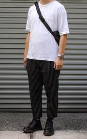 無品牌 九分西裝條紋褲的時尚穿搭