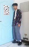 時尚穿搭:藍色大門旁的藍色少年#22