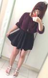 H&M 酒紅色長版針織上衣的時尚穿搭