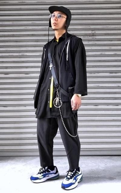 適合黑色系、暗黑系、街頭混搭、褲鏈、配件的穿搭