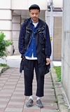 COP BY PLAIN-ME 尼龍連帽長版風衣外套的時尚穿搭