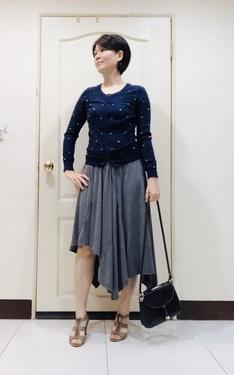 時尚穿搭:優雅,藍針嬂+灰色長裙
