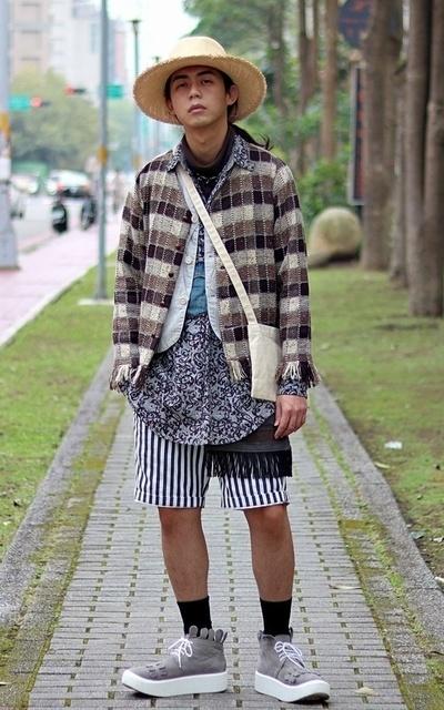 適合FAMILYBROS、混搭、草帽、上身層次、厚底鞋、另一張全身照、KIJIMA TAKAYUKI、TOKYO BOPPER的穿搭