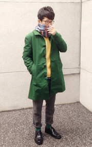 STANDARD BY CACTI PARK POSTMAN GREEN COAT的穿搭