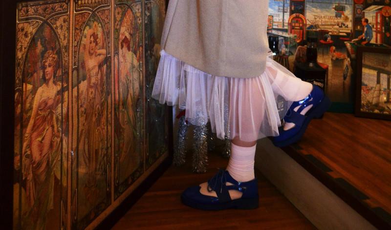 無品牌 的 古著網沙白洋裝