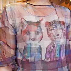ZARA 的 透視格紋上衣