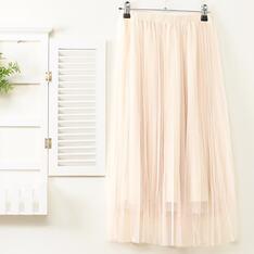 J-WELL 的 素面壓褶雙層網紗裙