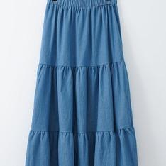 J-WELL 的 水洗純棉薄牛仔蛋糕裙