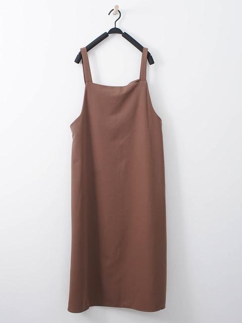 J-WELL 的 素素簡約開衩吊帶洋裝
