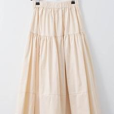 J-WELL 的 自然系鬆緊腰剪接細褶棉裙