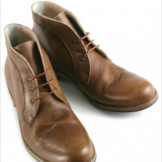 DANDY 的 真皮擦色壓紋個性短靴