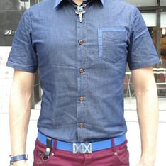無品牌 的 藍色丹寧襯衫