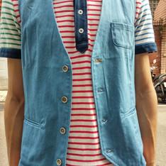 無品牌 的 淺藍西裝背心