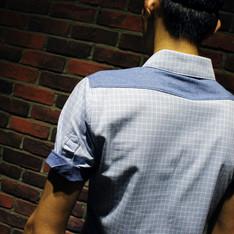 NMJ 的 拼色格紋短袖襯衫