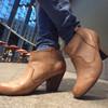 STYLEPICK 的 卡其色皮革短跟靴