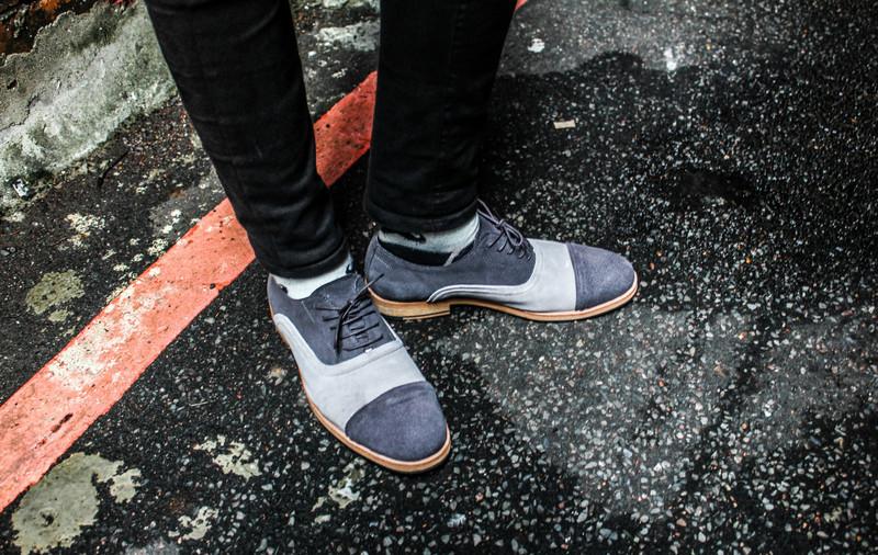 LMDH 的 手工擦色小牛皮麂皮牛津鞋