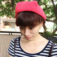 無品牌 的 橘紅色花瓣帽正面
