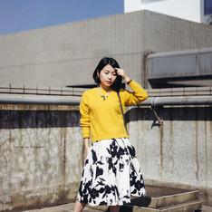 ZARA 的 黑白花裙