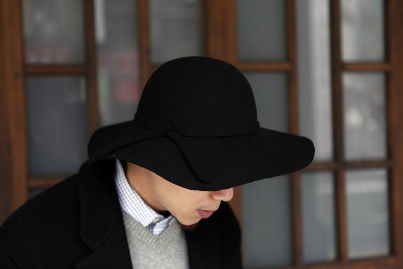 韓國 的 羊毛寬沿帽