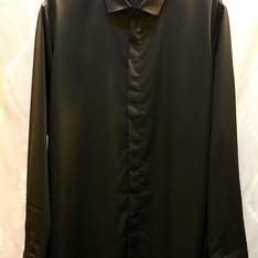 高質感隱藏扣子時尚防皺薄短領黑襯衫 的 襯衫