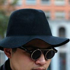 PLAIN-ME 的 寬沿毛呢紳士帽