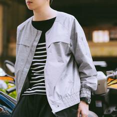 PLAIN-ME 的 光澤感無領鬆身剪裁夾克