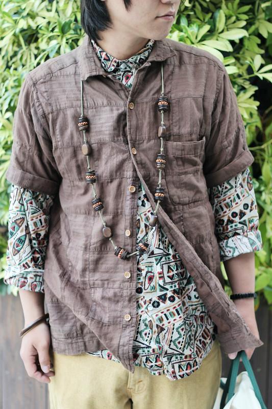 VINTAGE 的 木扣短袖襯衫