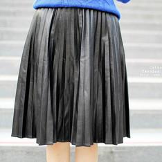 FRONTROWSHOP 的 皮革百摺裙