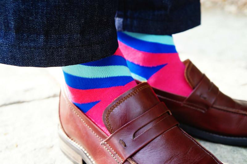 SOXKS 的 斜條文多色長襪