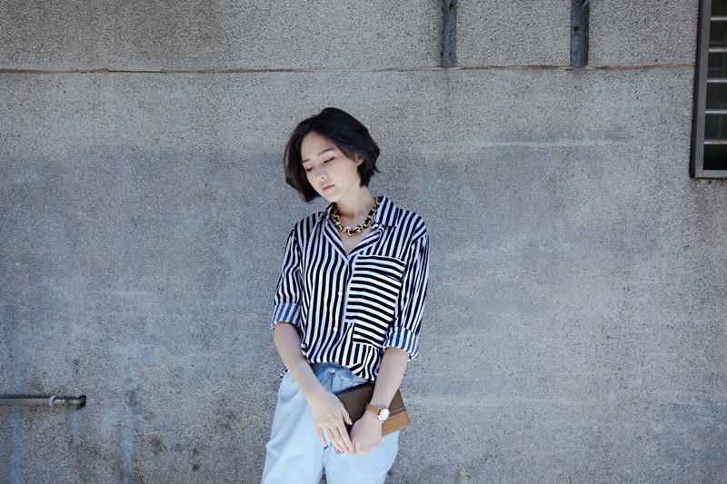 ORENDA  的 黑白條紋襯衫