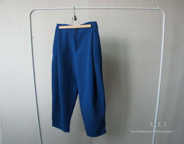 SMARTSNOWSNOW 的 單扣壓摺挺板寬褲