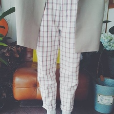 無品牌 的 高腰格紋褲