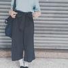 HELLO PHOEBE 的 藏藍條紋蝴蝶結綁帶九分寬褲
