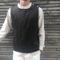 PLAIN-ME 的 人字紋開釦式外搭背心