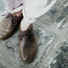 手工製 的 簡約平底皮鞋