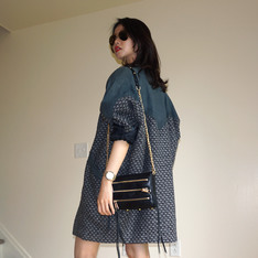 WINLIT  的 OVERSIZED TWEED JACKET WITH LEATHER DETAIL