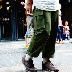 PLAIN-ME 的 軍風口袋九分褲