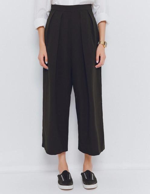 無品牌 的 黑色高腰寬褲