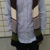 PLAIN-ME 的 白領拼接條紋襯衫