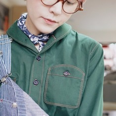 FERMENT BARREL 的 SHAWL COLLAR GREEN SHIRT