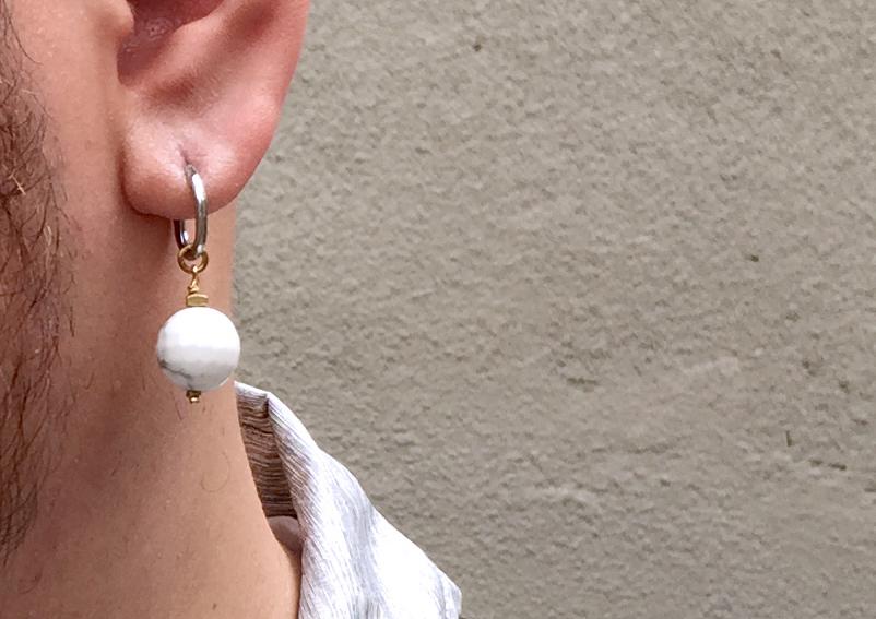 祖母綠了 的 白紋石耳環