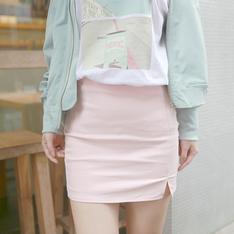 ICECREAM12 的 石英粉開衩短裙