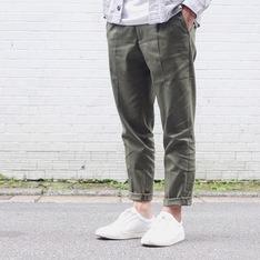 PLAIN-ME 的 斜紋打摺長褲
