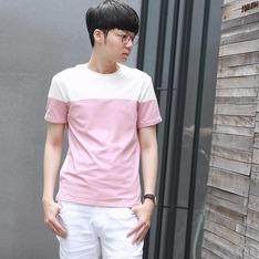 LIFE8 的 粉白撞色設計TEE