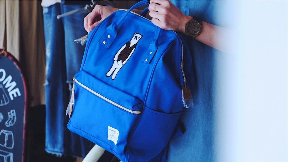 HELLO PHOEBE 的 寶藍熊刺繡後背包