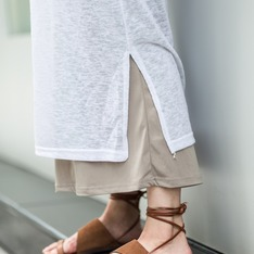 C'EST MODE 的 麂皮切割綁帶涼鞋